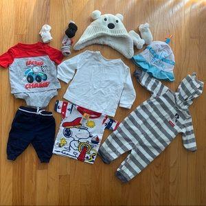 Baby Boy Clothing Lot! Hats, mittens, socks, tops